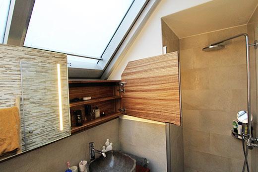 Badezimmer Zebrano furniert